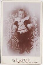 1890-9 Cabinet Card:/Young Boy in Best Clothes/With Cane/ Elaborate Wicker Chair