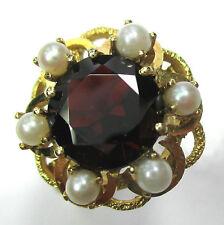 611 - Dekorativer Ring aus Gold 585 - Granat und Zuchtperlen -1328-