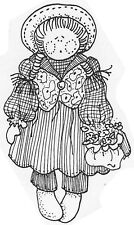Unmounted Rubber Stamps, Whimsical, Doll with Flowers, Cute, Ragdolls, Dolls