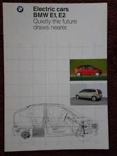 BMW E1 & E2 Electric City Cars rare 1992 brochure prospekt catalog English text