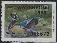 US Stamps - Scott # MO02 - 1980 Missouri Waterfowl Stamp - MNH           (L-908)