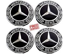 Mercedes Benz Wheel Center Caps Black and Chrome Hubcaps 75MM 4 Pieces FREE SHIP