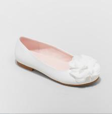 Girls' Ballet Flats 4 Flowers by Nina Muriel Dressy Shoe Slip On Bow - White New