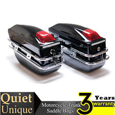 Motorcycle Cruiser Hard Trunk Saddle Bags Trunk Luggage w/ Lights Mounted Pair