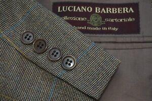 Luciano Barbera Sartoriale Multicolor Plaid Brown Sport Coat Jacket Sz 44R