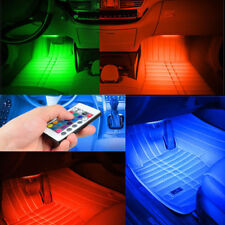 Remote Control Colorful RGB Car Interior Floor Atmosphere Light Strip 4 x 9 LED