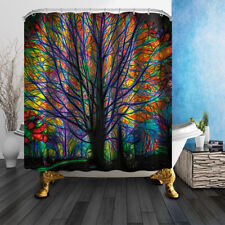 Colored Tree Of Life Bathroom Shower Curtain Fabric w/12 Hooks 71*71inches