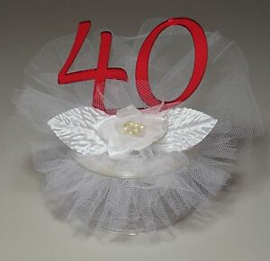 40th Wedding Anniversary Red Acrylic Cake Topper (JK34-40) HANDCRAFTED IN USA