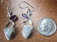 Elegant Faceted Amethyst and Moonstone 925 Sterling Silver Dangle Earrings u421a
