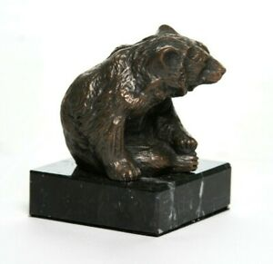 Bronze Sculpture of a Brown / Grizzly Bear on a solid marble base.