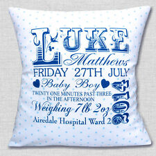 "PERSONALISED BIRTH ANNOUNCEMENT Name Date Time Weight 16"" Pillow Cushion Cover"