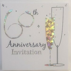 Pack Of 6 Diamond 60th Wedding Anniversary Invitation Cards With Envelopes