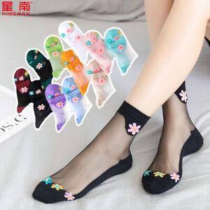 10 Pairs Summer Women Transparent Thin Flowers Silk Stockings Short Ankle Socks