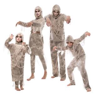 Men Women boys Girls Mummy Costume Halloween Egyptian Bandages Scary Fancy Dress