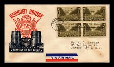 DR JIM STAMPS US REMAGEN BRIDGE ARMY FIRST DAY COVER SCOTT 934 BLOCK AIR MAIL
