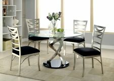 Furniture of America Roxo Round Dining Table Set in Black Silver with 4 Chairs
