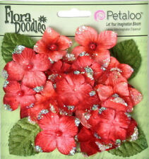 Hydrangeas Red 22 Flower & Leaf Mix Velvet Glitter 20-30mm Petaloo Hyd