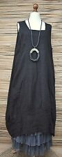 LAGENLOOK LINEN OVERSIZED BEAUTIFUL 2 POCKETS LONG DRESS***BLACK***SIZE XL-XXL