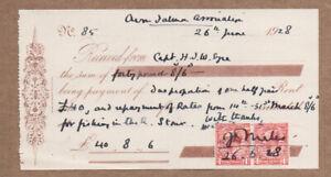 1928 River Avon Salmon Association Receipt £40 River Stour 6 Months Permit Fee