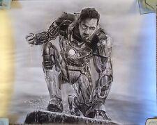 "Iron Man Avengers Marvel ART CHARCOAL DRAWING 16X20"" ORIGINAL"