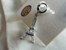 BNWT Fossil Charm Eiffel Tower & Fossil cloth bag for bracelet or necklace NEW