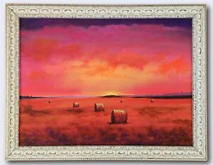 """""""Haystacks and Sunset"""" Original Painting Framed & Signed Sky Clouds Landscape"""