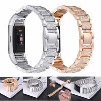 montre bracelet de montre Brillant cristal futée acier inox Pour Fitbit charge 2