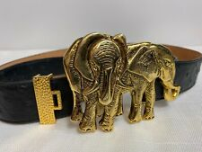 "Vintage Oversized Gold Signed Elephant Buckle Women's Belt 48"" CR/JR/JRP/JPR"