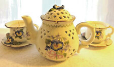 Avon Tea Time Luminous Treasures Pansies Teapot Teacups Candle Set 3 Piece Nice!