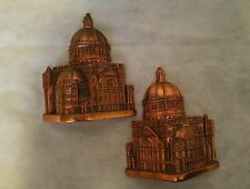 "Vintage  Pair of COPPER PLATED DOMED BUILDING BOOKENDS signed ""TOLL"""