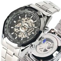 Luxury Men's Automatic Mechanical Wrist Watch Military Skeleton Steel Watches