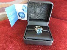GENUINE 6ct Marambaia Swiss Blue Topaz & Diamond Ring 9ct Yellow Gold - Size S