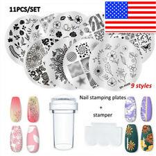 11Pcs Nail Art Stamping Plates Kits Spring Rose Marble Geometric Stamper Scraper