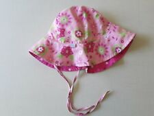 I Play Girls Sz 2T-4T Pink Floral Floppy Hat Chin Straps Reversible UPF 50+