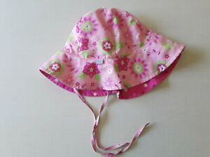 I Play Girls Sz 2-4 Pink Floral Dots Sun Hat Chin Straps Reversible UPF 50