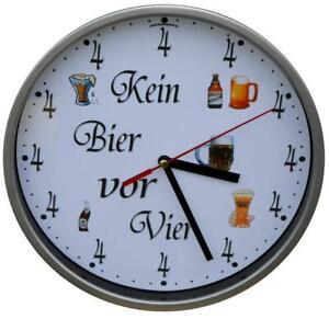 Wanduhr KEIN BIER VOR VIER 4 Stammlokal Kneipe Bar TOP
