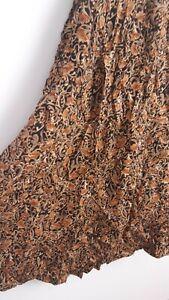 Vintage Boho Orange Floral William Morris Style Maxi Skirt Size 18/20 Gypsy Arty