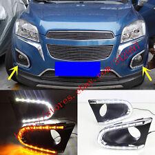 For Chevrolet Trax 2014-up LED Daytime Running Lights DRL Fog Lamp w/Turn Signal
