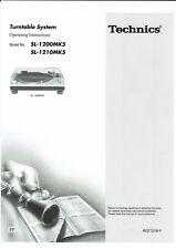 Technics  Bedienungsanleitung user manual owners manual  für SL-1200/1210 MK5