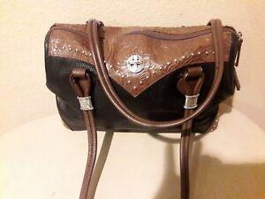 ENMON WESTERN Style Black/Brown Leather Satchel Shoulder Handbag