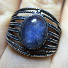 The World's Only Rare Natural Beautiful Blue Dumortierite Crystal ring18120504