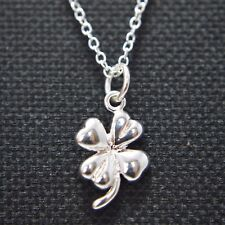 "Shiny 925 Sterling Silver PL 4 Leaf Clover Pendant 18""Chain Necklace Lucky Gift"