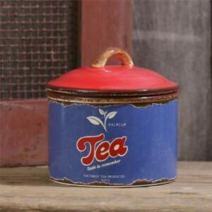New Primitive Retro Diner Vintage Style Blue Red TEA CANISTER Ceramic Jar