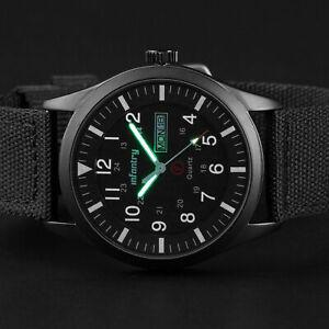 INFANTRY Mens Quartz Wrist Watches Date Luminous Sport Military Army Black Nylon