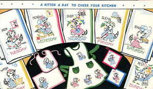 Vintage Hand Embroidery Transfer 219 Kittens for Days of the Week dish towels