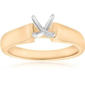 14K Yellow Gold Cathedral Semi Mount Engagement Ring Setting Solitaire Solid