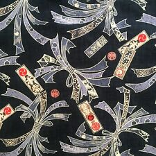 Japanese fabric, oriental cotton, chinese, black grey kimono style, barkcloth