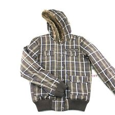 Roxy Womens Juniors Brown Plaid Quilted Full Zip Faux Fur Hooded Jacket M