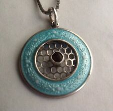 Beautiful Antique Light Blue Enamelled Pendant Drop With Sterling Silver Chain