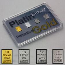 Quattro Preziosi 1 Gramm 999 Gold Platin Silber & Palladium m. Box Zertifikat